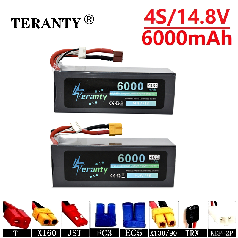 High Power 14.8v <font><b>6000mAh</b></font> 40C Max 60C Batterry For RC Cars Boats Drones Spare Parts <font><b>4s</b></font> 5200mah 14.8v <font><b>Lipo</b></font> <font><b>Battery</b></font> T/XT60/JST/TRX image