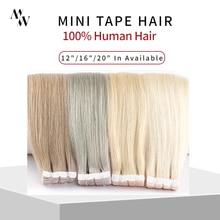 Mw mini fita em extensões de cabelo humano natural em linha reta máquina de cabelo remy invisível pele trama cola adesiva no cabelo 10