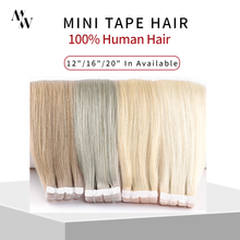 MW Mini Tape In Human Hair Extensions Natural Straight Hair Machine Remy Invisible Skin Weft Adhesive Glue On Hair 12