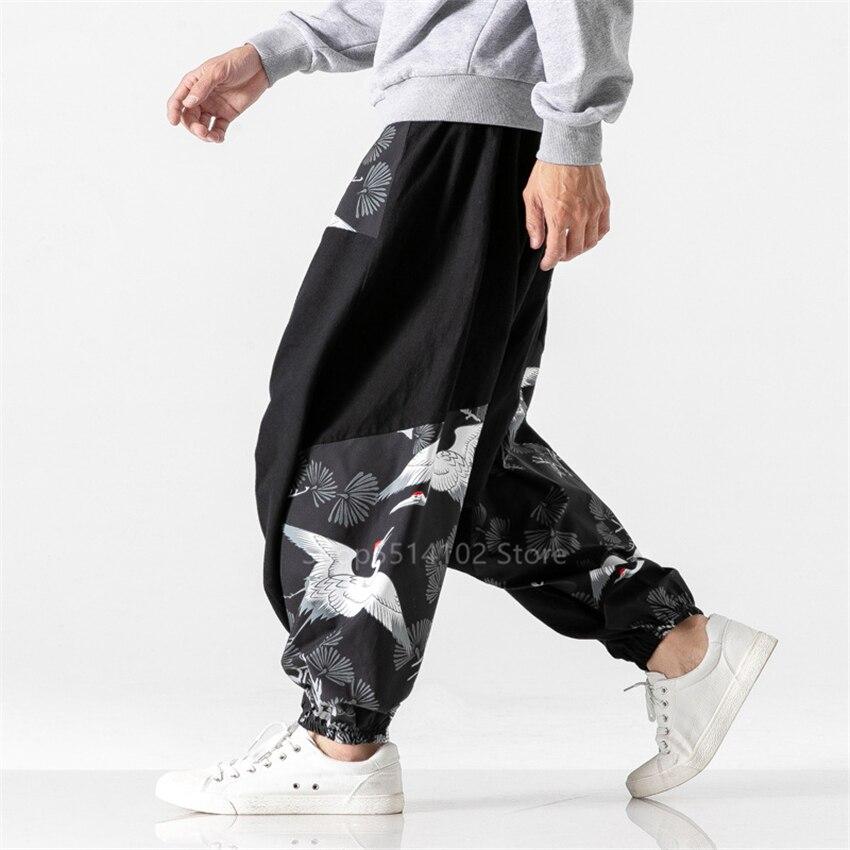 2020 Man Harajuku Japanese Style Harem Pants Crane Cotton Blouse Men Samurai Costume Hip Hop Vintage Haori Wide Leg Trousers