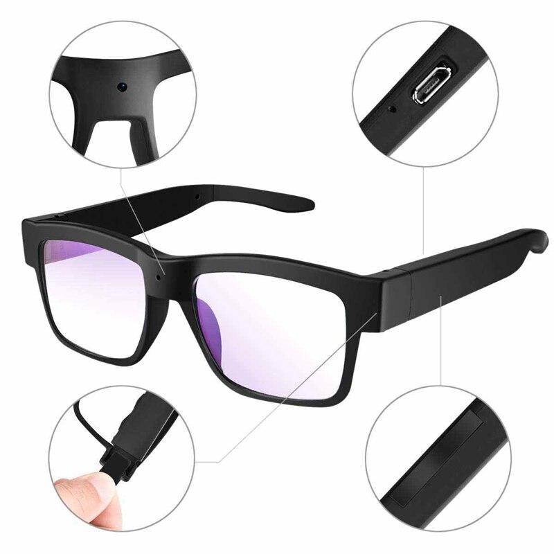 Tüketici Elektroniği'ten 3D Gözlük/Sanal Gerçeklik Gözlükleri'de Kamera gözlük 1080P Hd Video gözlük Max 32Gb depolama kartı gözlük kamera giyilebilir kamera title=