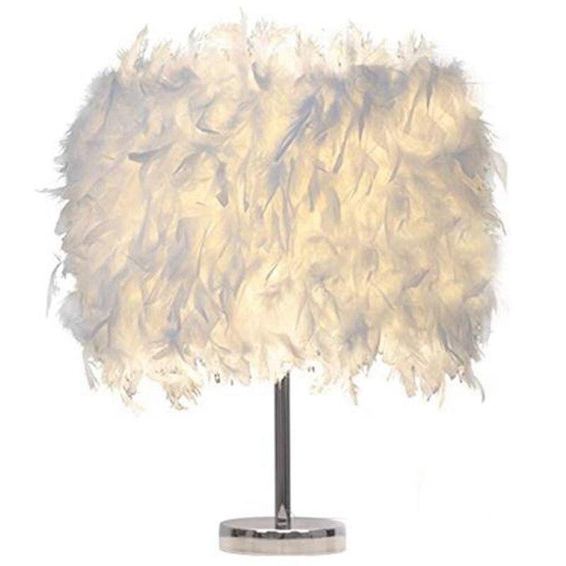 Feather Shade Metal Table Lamp Bedside Desk Vintage Night Light Christmas Decor Soft Vintage Bedroom Study Room Eu Plug Modern