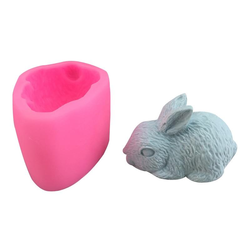 A cute rabbit silicone mold chocolate Mu Si fondant baking cake mold plaster drop glue handmade soap mold