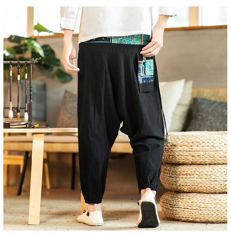 Sinicism Store Chinese Cross-Pants Men 2020 Autumn Oversize Fashion Mens Patchwork Button Pants Male Wide-legged Loose Pants 54
