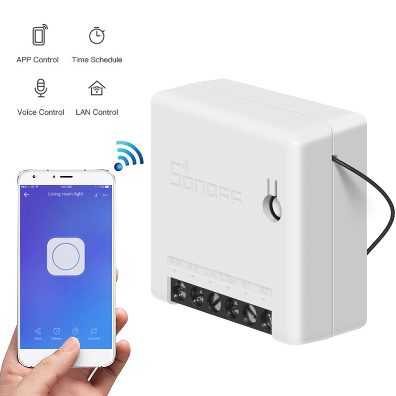 1PCS Sonoff MINI DIY Smart Switch Small Body Remote Control Wifi Switch Support An External Switch Work With Alexa Google Home