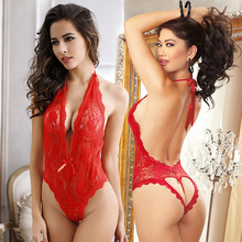 Women Sexy Lingeries Jumpsuits Hanging Neck Backless With Loving Heart Underwear