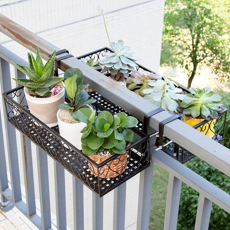 Balconies Balustrades Flower Racks Shelves Iron Railings Hanging Flower Pots  Shelves  Walls  Green And Fleshy Flower Racks