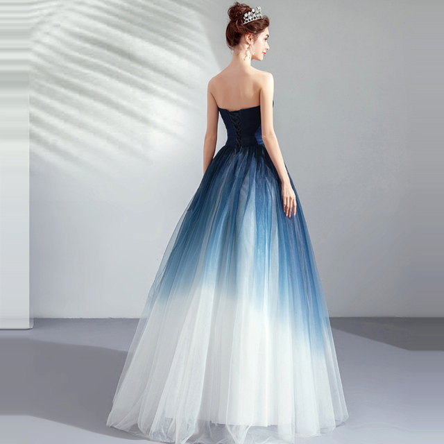 It's YiiYa Prom Gowns Blue Sleeveless Strapless A-Line Floor Length Long Party Dress Custom Plus Size Prom Dresses 2019 E263 4