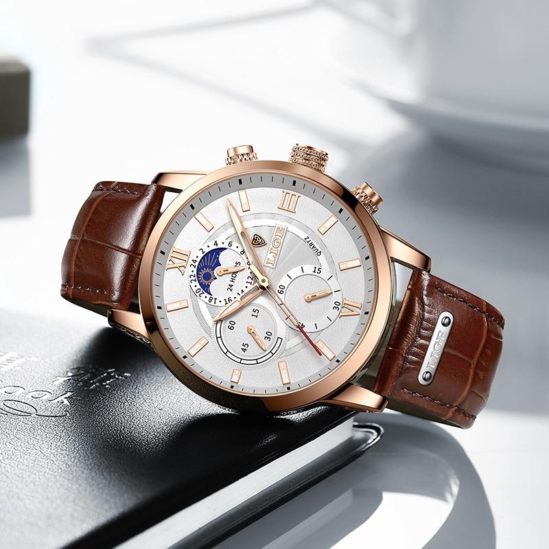 2021 LIGE Watches Mens Top Brand Luxury Clock Casual Leathe 24Hour Moon Phase Men Watch Sport Waterproof Quartz Chronograph+Box 2