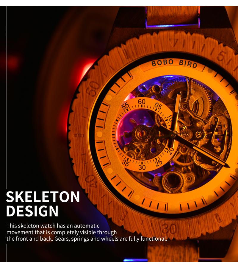 Reloj mecánico de madera caja de diseño Retro 4