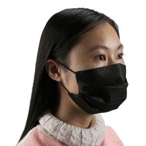 Image 2 - 10/20/50/100 stuks mondmasker Disposable Zwart / wit / blauw / roze / pgrey Cotton Mond gezichtsmasker niet geweven Masker Earloop Activated