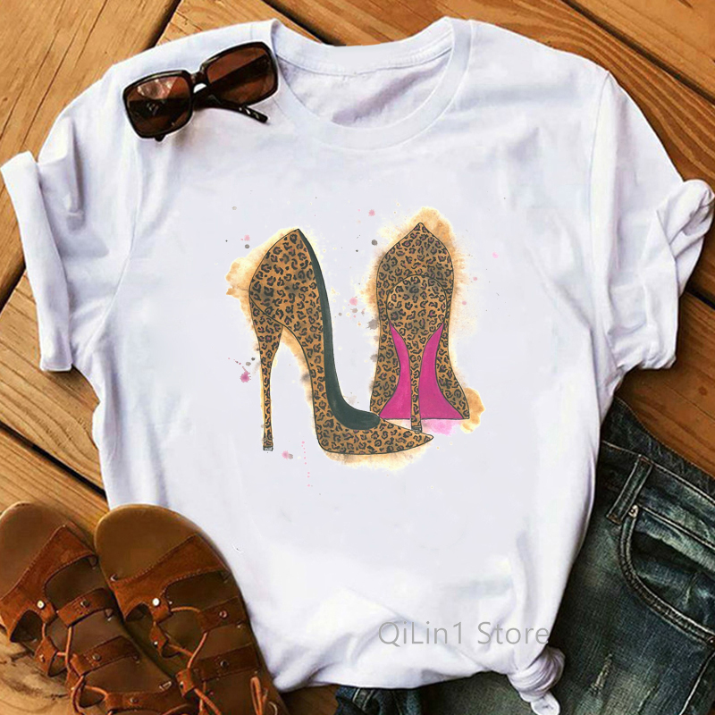 Newest Leopard High Heels Shoes Print Vogue T shirt Femme Funny T shirt Women 90s Punk Shirt Hip Hop Hipster Streetwear