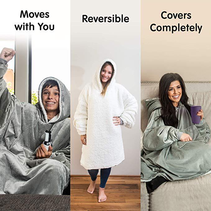 Winter Warm TV Pocket Hooded Blankets Adults Bathrobe Sofa Cozy Blanket Sweatshirt Solid Plush Coral Fleece Blankets Outwears-2