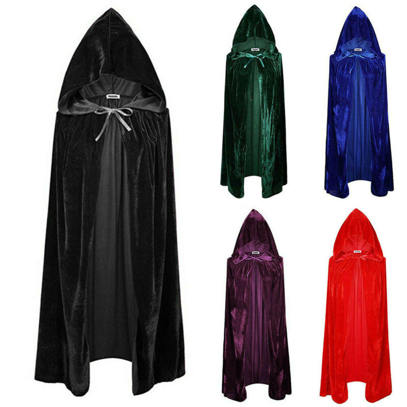 Adult Vampire Capes Kids Hooded Robes Black Red Reversible Forest Green Deluxe Halloween Cloak Full Length Anime Cosplay New