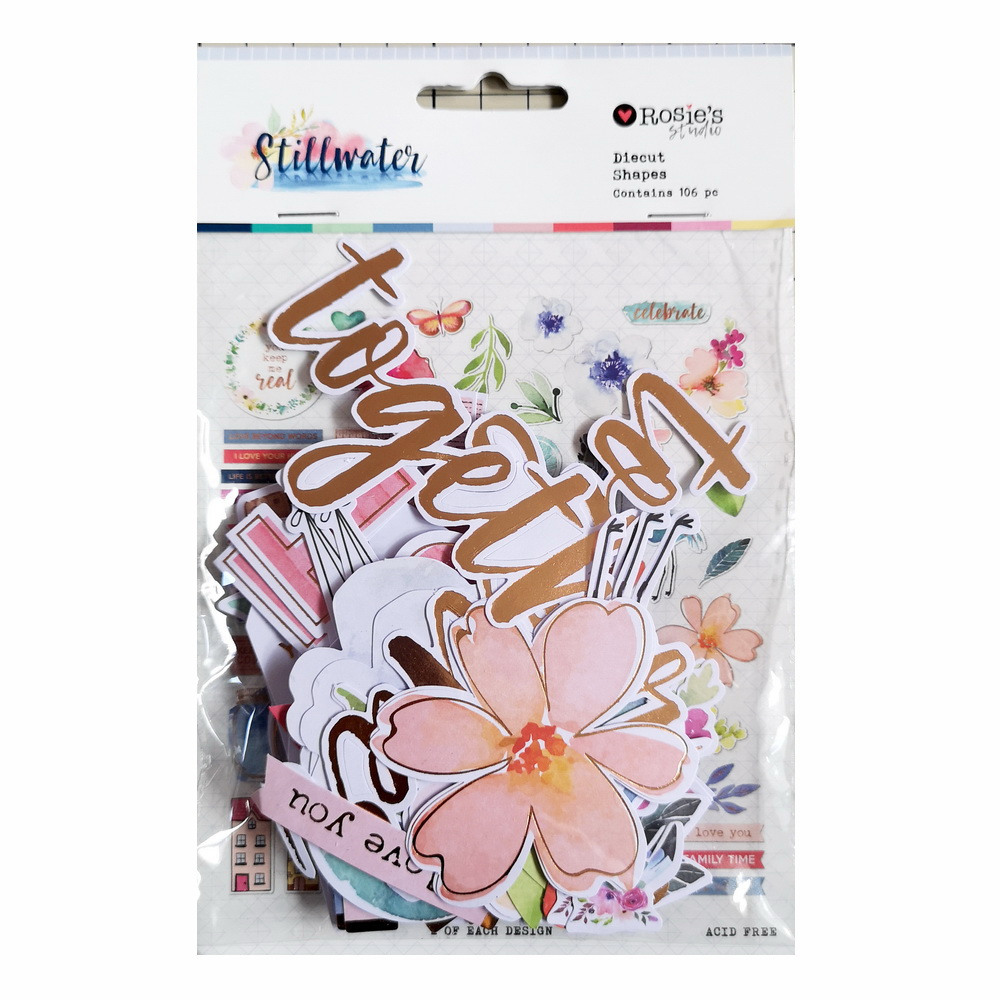 CRZCrafter 106pcs Printed Paper Diecut Shapes Foil Design Scrapbooking Cardmaking Journal Embellishments