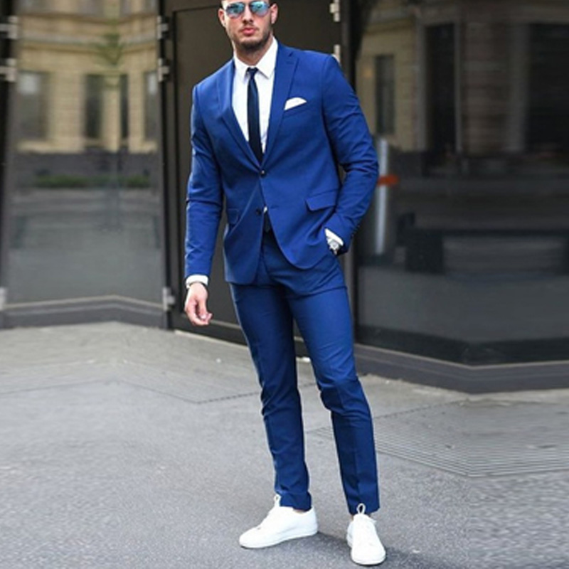 Royal Blue Silm fit Men Suits for Groomsmen 2 piece Custom Wedding Tuxedo New Male Fashion Jacket with Pants Man Costume