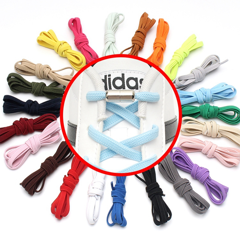 New Flat Elastic Locking Shoelace No Tie Shoelaces Special Creative Kids Adult Unisex Sneakers Women Men Shoes Laces Strings