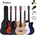 Фотогитара диаметром 38 дюймов для начинающих, 6 струн, Липа с наборами, черная, белая, деревянная, коричневая гитара AGT16A
