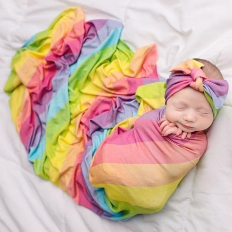 Soft Newborn Baby Girls Wrap Blankets  Flower Printing Receiving Blankets Swaddling Infant Swaddle Wrap Headband Set