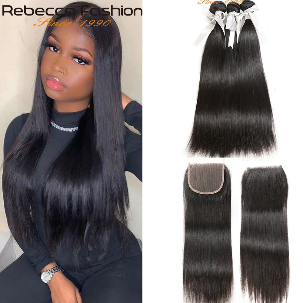 Rebecca Straight Hair Bundles With Closure Brazilian Hair Weave 3 Bundles With Closure Human Hiar Bundles With Closure 8
