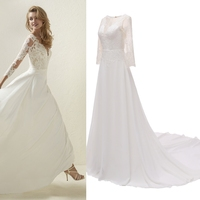 Ourdoor spring summer light wedding dress bride gown with court train floor length A line chiffon lace tree quarter sleeves