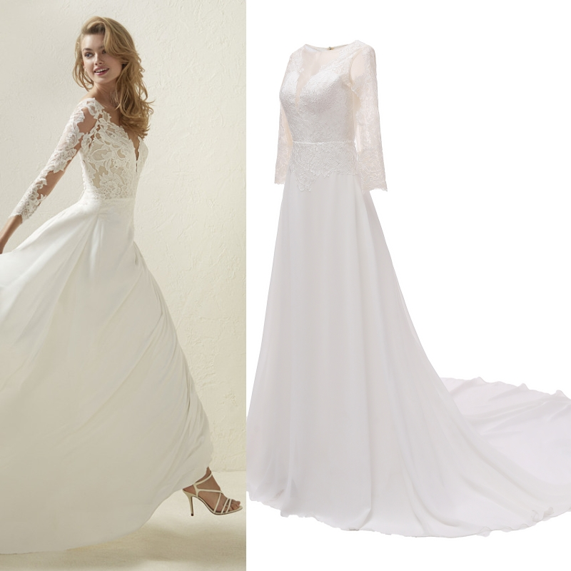 Ourdoor Spring Summer Light Wedding Dress Bride Gown With Court Train Floor Length A-line Chiffon Lace Tree Quarter Sleeves