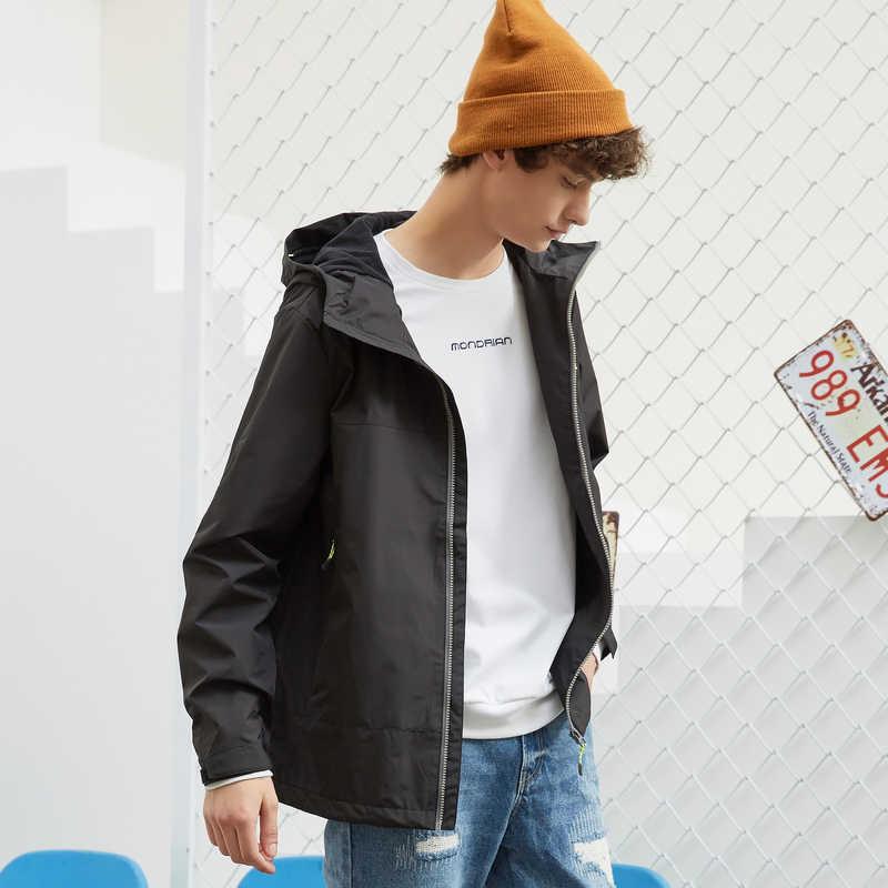 Metersbonwe 남자 2020 봄 여름 캐주얼 재킷 트렌치 코트 남자 패션 후드 솔리드 편안한 스포츠 야외 자 켓