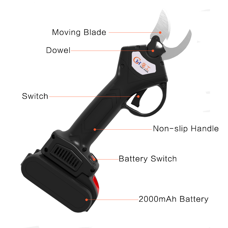 Branch Cutter Cordless Pruning Pruning Haowook Tool Pruner 2000mAh Electric Electric Garden Rechargeable Fruit Secateur Shears