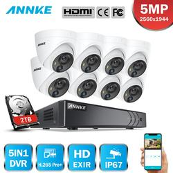 Annke 5MP Bewakingscamera H.265 Pro + Dvr Surveillance Met 8 Pcs 5MP Pir Outdoor Camera IP67 Weerbestendige Security kit