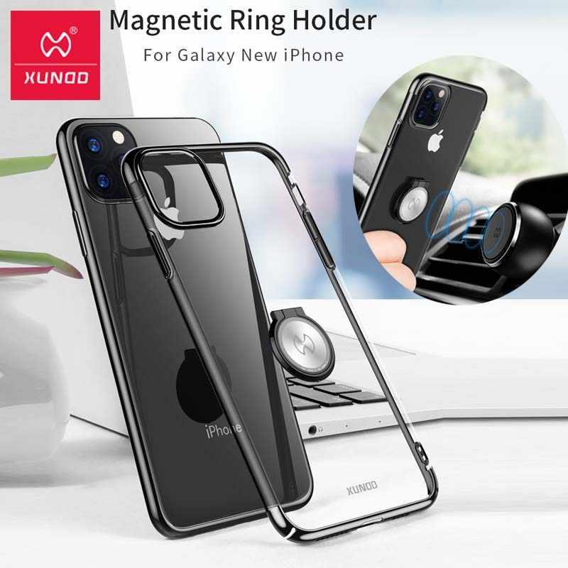 Para o iphone 11 caso xundd luxo claro duro pc capa protetora com anel titular para iphone 11 pro max caso coque