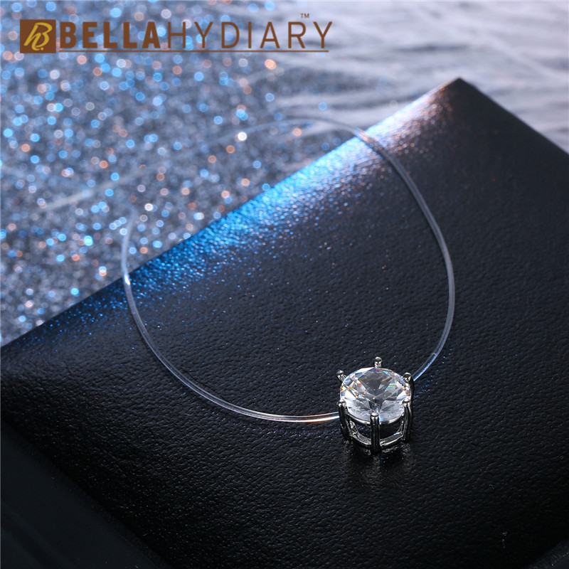 Bijoux Transparent Fishing Line Necklace Silver Invisible Chain Necklaces Pendants Six Claws Rhinestone Choker Necklaces Collier