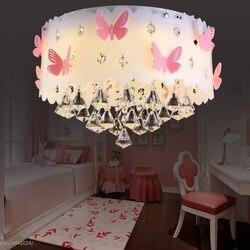 Okrągła sypialnia lampa sufitowa kryształ różowy motyl dziewczyna księżniczka ciepły romantyczny kreatywny sala weselna lampa sufitowa LO7217 w Oświetlenie sufitowe od Lampy i oświetlenie na
