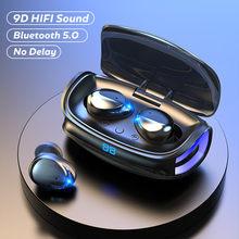 Tws bluetooth fones de ouvido 5.0 para o telefone 9d alta fidelidade estéreo música sem fio fone com microfones led power display earbud