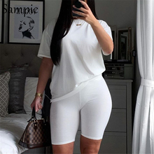 Sampic Summer Fashion White Black Casual Women Set Short Sleeve Shirt Tops And Bodycon Shorts Two Piece Sets Outfit Suit 2020