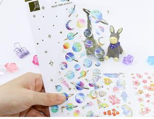 Scrapbooking Stickers Toys Skateboard Marine Life-Space Laptop for Children Diary Epoxy