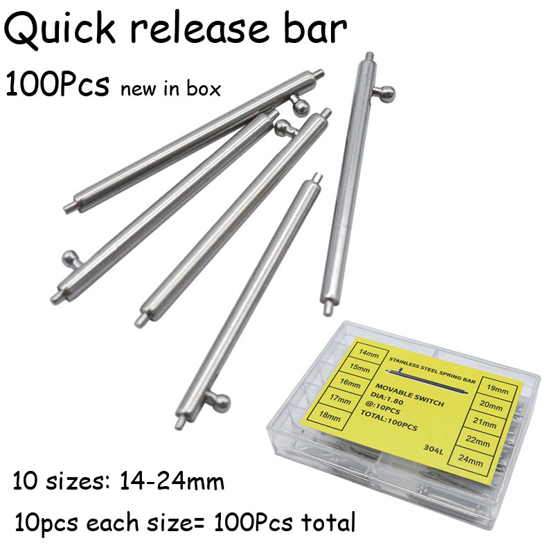 100Pcs Stainless Steel Watch Strap Quick Release Spring Bar Pins Watch Repair Tool Band Pin 14mm 15 16 17 18 19 20 21 22 24mm