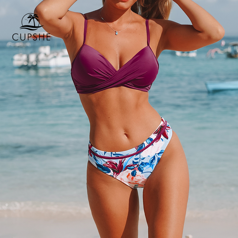 CUPSHE Push Up Floral Wrap Bikini Sets Women Sexy Thong Two Pieces Swimsuits 2019 Girl Beach Bathing Suits Swimwear