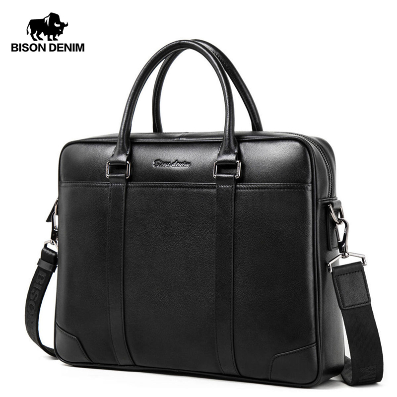 BISON DENIM Fashion Cowhide Male Handbag Famous Brand 14 Inches Laptop Business Bag Men Messenger Bag Travel Crossbody Bag N2610