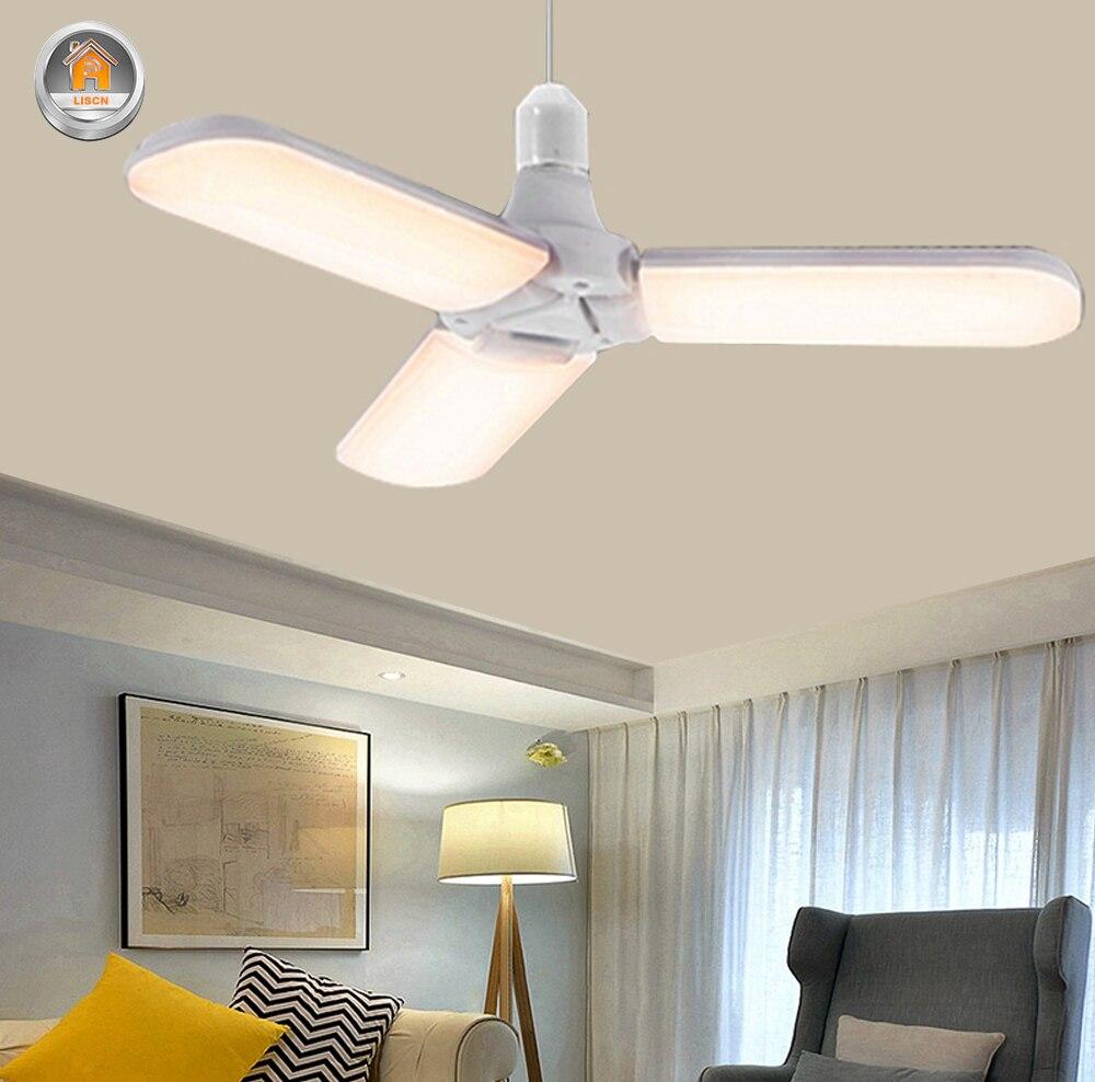 Led Lamp E27 Pendant Lights 45W 85-265V Foldable Fan Smart Ceiling Light For Bathroom Aisle Restaurant Home Lighting