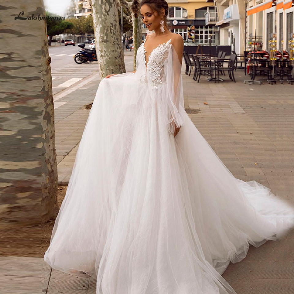 Lakshmigown Bohemian Beach Wedding Dress 2020 Backless Sexy Bridal Gowns V Neck Robe De Mariee Vintage White Tulle Wedding Gowns