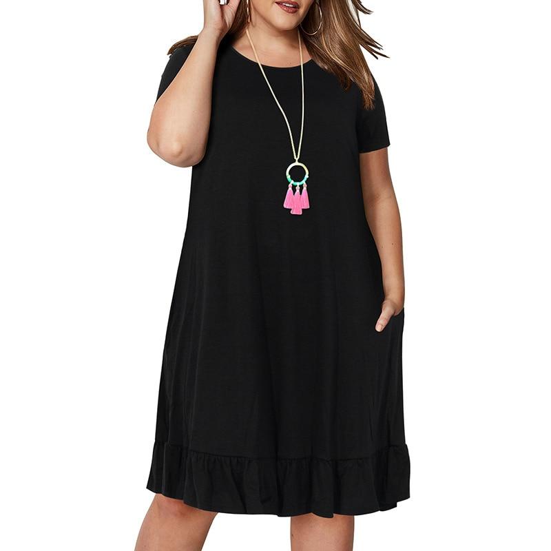 Spring Big size 9XL dress for Fat MM Woman dress Loose solid ruffles plus size women clothing 9xl dress  5