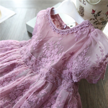 5180 Embroidery Lace Toddler Princess Baby Girl Dress 2020 Summer Party Wedding Kid Dress For Girl Easter Day Wholesale Clothes