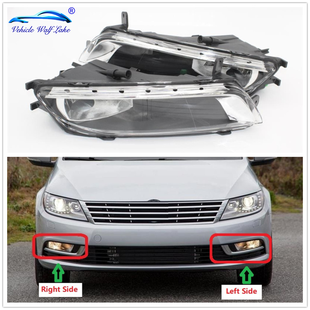 For VW Passat CC 2012 2013 2014 2015 2016 2017 Car-Styling Front Halogen Fog Light Fog Lamp With Bulbs