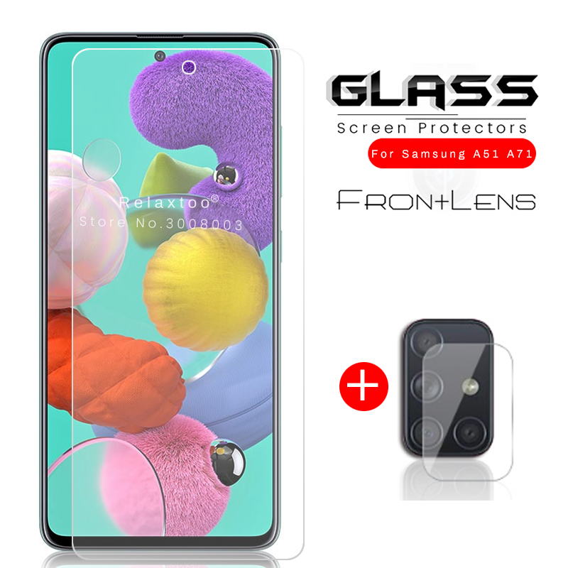 2-in-1 Camera Glass For Samsung Galaxy A51 A71 Protective Glass On The Sansung A 51 71 51a 71a A515f A715f Armor Protection Film