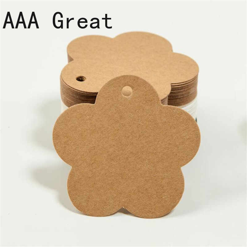 100Pcs/Lot Kraft Paper Gift Tags Handmade Paper Hang Tag DIY Price Label Garment Tags Gift Packing Label Cards Flower Shape Hole