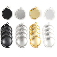 40Pcs/Set Bezel Pendant Trays Blanks With Glass Cabochons DIY Jewelry Making Necklace Findings(China)