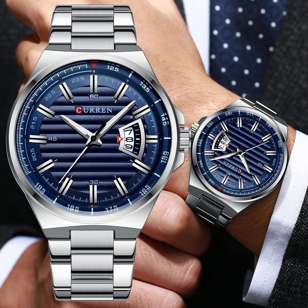 CURREN New Men Business Watch Full Steel Quartz Top Brand Luxury Sports Waterproof Casual Male Wristwatch Relogio Masculino
