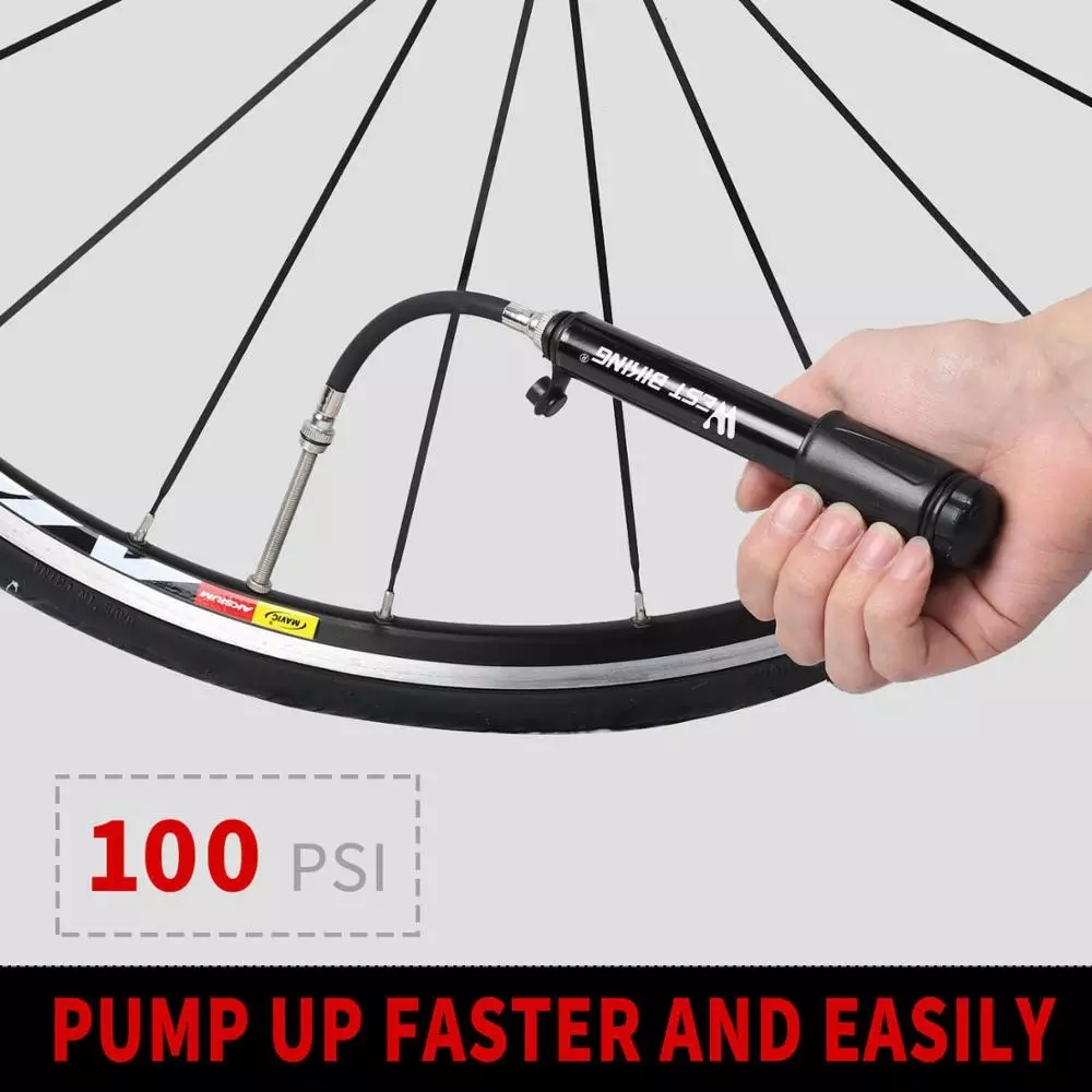 100Psi Mini Bike Pump Aluminum AlloyBicycle Hand Air PumpTire Inflator Presta