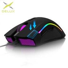 Deluxe M625 kablolu 7D oyun fare ergonomik PMW3360 12000 dpi RGB arkadan aydınlatmalı pc bilgisayar oyuncu fareleri bilek istirahat ile Mouse Pad seti