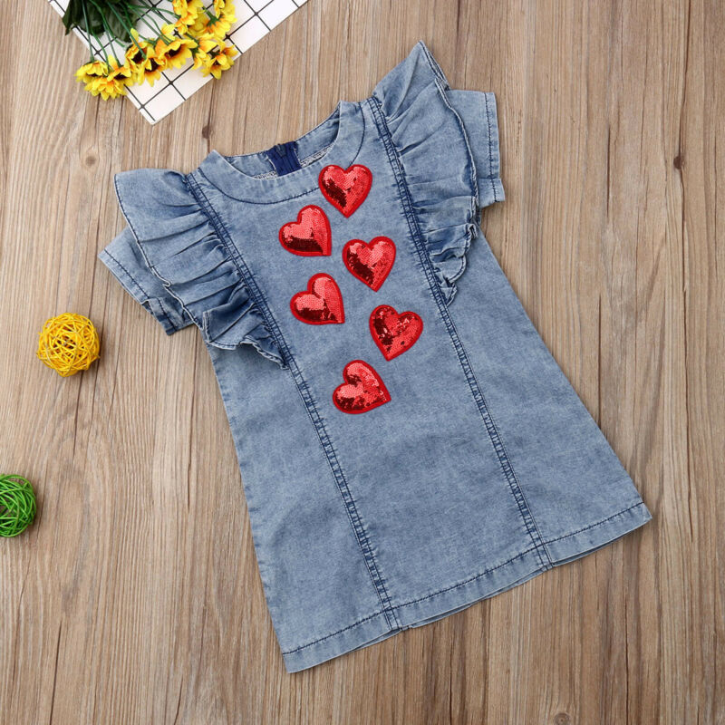 Kid Baby <font><b>Girl</b></font> 3D Heart Party Pageant <font><b>T</b></font> <font><b>Shirt</b></font> <font><b>Dress</b></font> Sundress Valentine Clothes image
